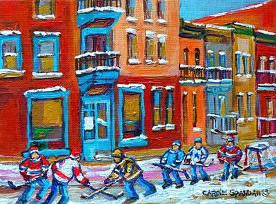 Montreal Buildings Painting - Street Hockey Game At Wilenskys Montreal Winter Street Scene Paintings Carole Spandau by Carole Spandau