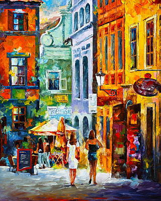 Old Street Painting - Street In Amsterdam by Leonid Afremov