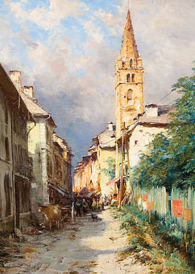 Perspective Painting - Street In Barcelonette by Charles Alexandre Bertier