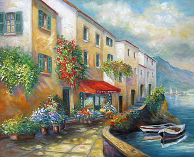 Italian Landscapes Painting - Street In Italy By The Sea by Regina Femrite