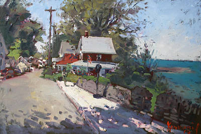 Town Painting - Street In Olcott Beach  by Ylli Haruni