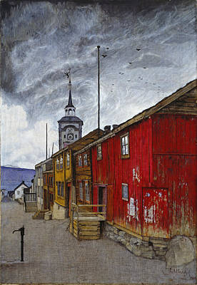 Harald Painting - Street In Roros by Harald Sohlberg