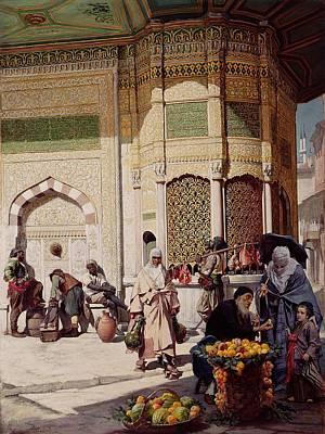 Street Merchant In Istanbul Print by Hippolyte Berteaux