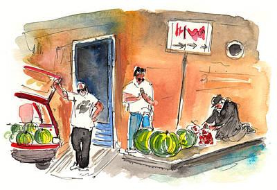 Vegetable Market Drawing - Street Merchants In Siracusa by Miki De Goodaboom