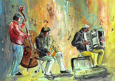 Saxophone Drawing - Street Musicians In Dublin by Miki De Goodaboom