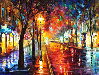Street Of The Old Town - Palette Knife Oil Painting On Canvas By Leonid Afremov Original by Leonid Afremov