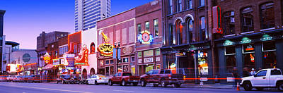 Nashville Sign Photograph - Street Scene At Dusk, Nashville by Panoramic Images