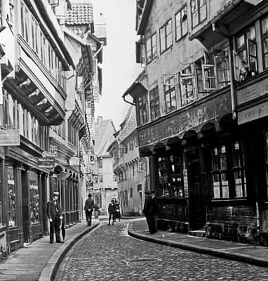 Print featuring the photograph Street Scene Braunschweig Germany 1903 by A Gurmankin