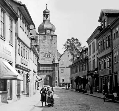 Print featuring the photograph Street Scene Coberg Germany 1903 by A Gurmankin