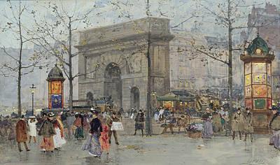 Eugene Painting - Street Scene In Paris by Eugene Galien-Laloue