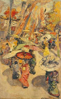 Edward Atkinson Hornel Painting - Street Scene.tokyo by Edward Atkinson Hornel