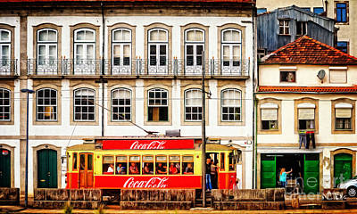 Street Scene With Red Tram - Oporto Print by Mary Machare