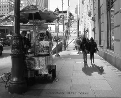 Downtown Stairs Photograph - Street Vendor And Stairs In New York City by Dan Sproul