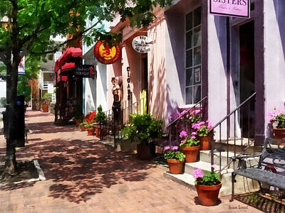 Sunny Photograph - Alexandria Va - Street With Art Gallery And Tobacconist by Susan Savad