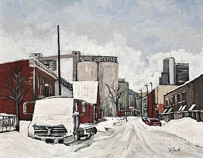 Montreal Buildings Painting - Streets Of Montreal Pointe St. Charles by Reb Frost