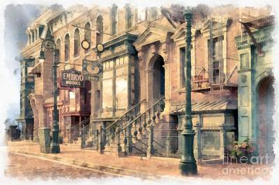 Miniature Nyc Photograph - Streets Of Old New York City Watercolor by Edward Fielding