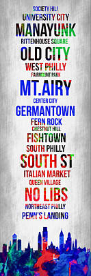 Streets Of Philadelphia 1 Print by Naxart Studio