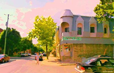 Streets Of Pointe St Charles Summer Scene Connies Pizza Rue Charlevoix Et Grand Trunk Carole Spandau Print by Carole Spandau