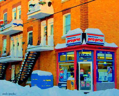 Streets Of Verdun Corner Depanneur Proprio Staircases In Winter Montreal City Scene Carole Spandau Print by Carole Spandau