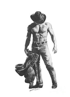 Male Nude Drawing Drawing - Strength Of A Cowboy by Marianne NANA Betts