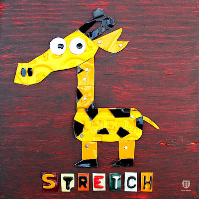 Giraffe Mixed Media - Stretch The Giraffe License Plate Art by Design Turnpike