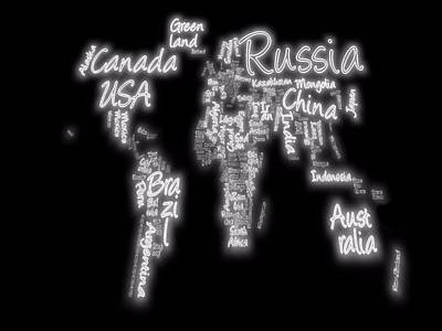 Australia Digital Art - Stretched World Map by Dan Sproul