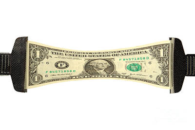 Banknotes Photograph - Stretching The Dollar by Olivier Le Queinec