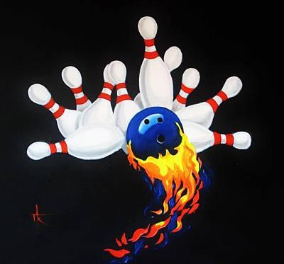 Bowling Alley Painting - Strike by Thomas Kolendra