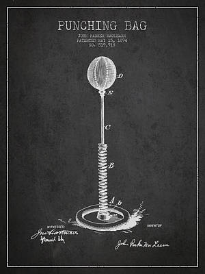 Punching Drawing - Striking Bag Patent Drawing From1894 by Aged Pixel