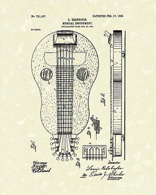 Stringed Instrument 1903 Patent Art Print by Prior Art Design
