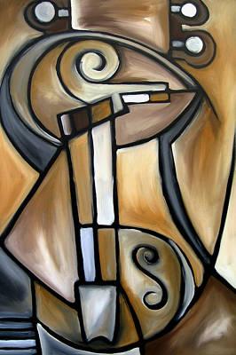 Modern Abstract Mixed Media - Strings - Original Cubist Art By Fidostudio by Tom Fedro - Fidostudio