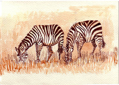 Zebra Painting - Stripe Buddies by Sarabjit Singh