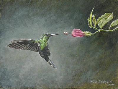 Hummingbird Painting - Striped Tailed Hummingbird by Rob Dreyer AFC