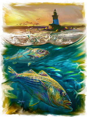 New England Lighthouse Painting - Striper And Lighthouse - Striped Bass Art by Savlen Art