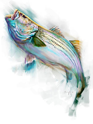 Sealife Art Painting - Striper Rise by Savlen Art