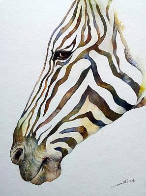 Zebra Painting - Stripey- Zebra Portrait by Arti Chauhan