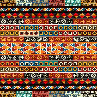 Native Art Digital Art - Strips Motifs Pattern by Richard Laschon