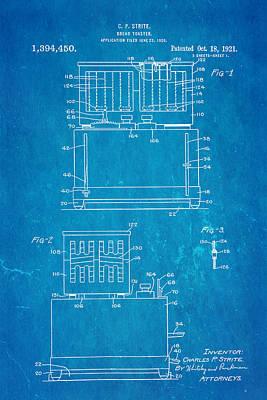 Toaster Photograph - Strite Bread Toaster Patent Art 1921 Blueprint  by Ian Monk