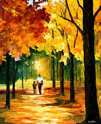 Stroll In The Forest - Palette Knife Oil Painting On Canvas By Leonid Afremov Original by Leonid Afremov