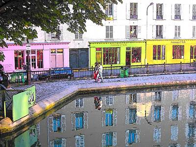 Strolling Along St Martin Canal Paris Print by Jan Matson