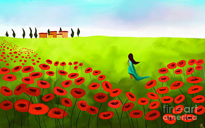 Strolling Among The Red Poppies Print by Anita Lewis