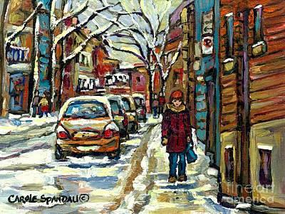 Montreal Memories Painting - Strolling Down Verdun Avenues Canadian Urban Winter Landscape Paintings Best Montreal City Scene Art by Carole Spandau