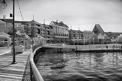Strolling On The Boardwalk In Black And White Walt Disney World Print by Thomas Woolworth