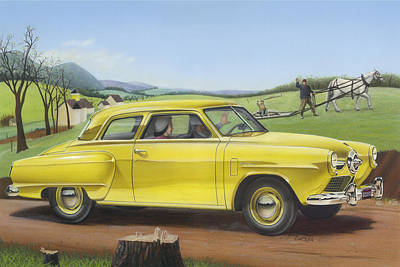 Studebaker Champion Antique Americana Nostagic Rustic Rural Farm Country Auto Car Painting Print by Walt Curlee