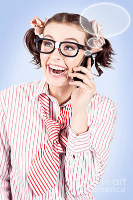Student On A Mobile Call With Speech Bubbles Print by Ryan Jorgensen
