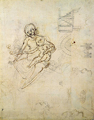 Studies For A Virgin And Child And Of Heads In Profile And Machines, C.1478-80 Pencil And Ink Print by Leonardo da Vinci