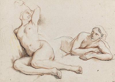 Studies Of Two Female Nudes Print by Noel-Nicolas Coypel