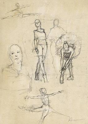Tutus Drawing - Studio Studies by H James Hoff