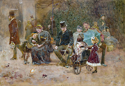 Pram Painting - Study For A Seat In St James S Park by George John Pinwell