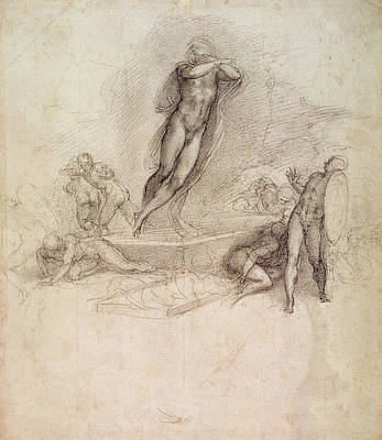 Jesus Art Drawing - Study For An Ascension by Michelangelo Buonarroti